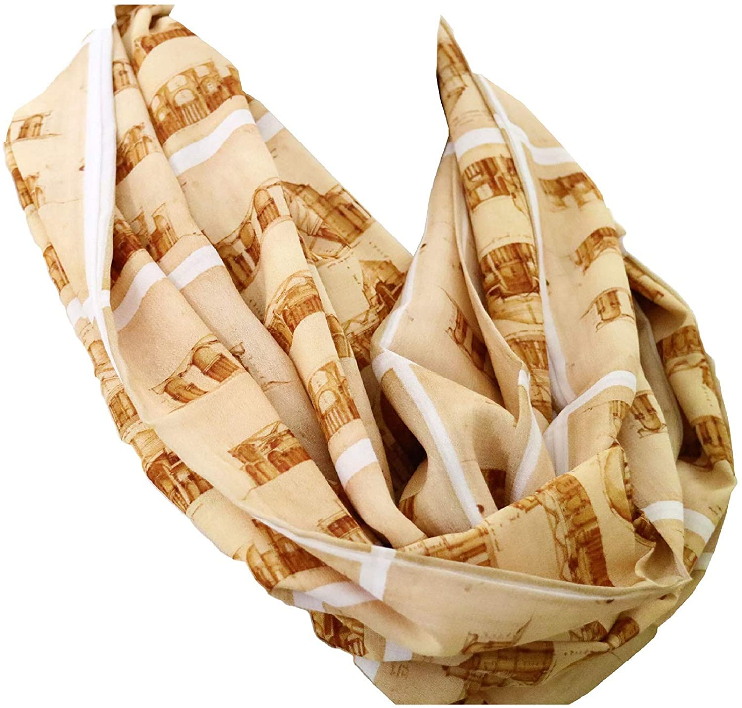 Vintage infinity scarf art history building Andrea Palladio architectural scarf birthday gift for her architect anniversary present