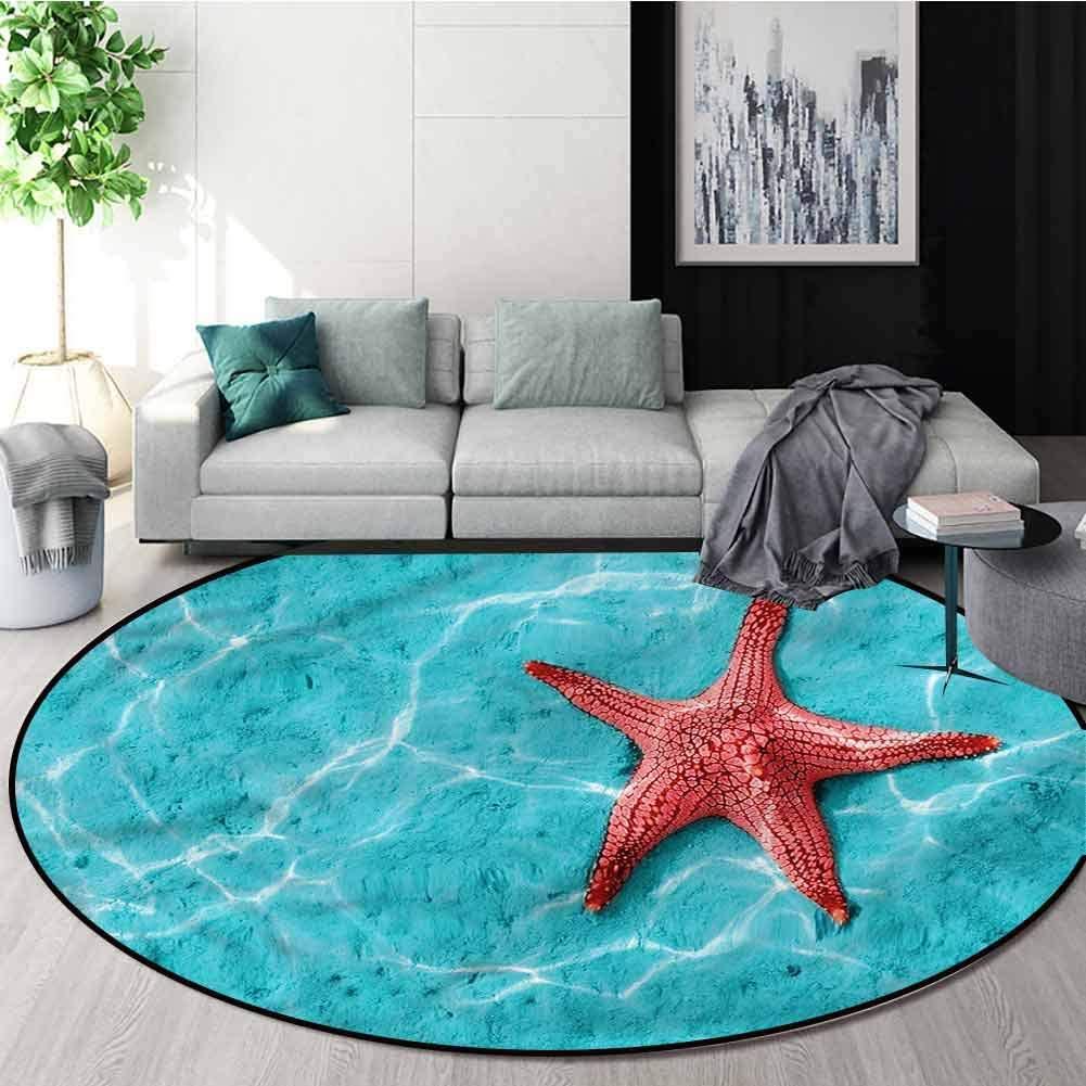 RUGSMAT Starfish Computer Chair Floor Mat,Vivid Blue Water Living Dinning Room and Bedroom Rugs Diameter-47