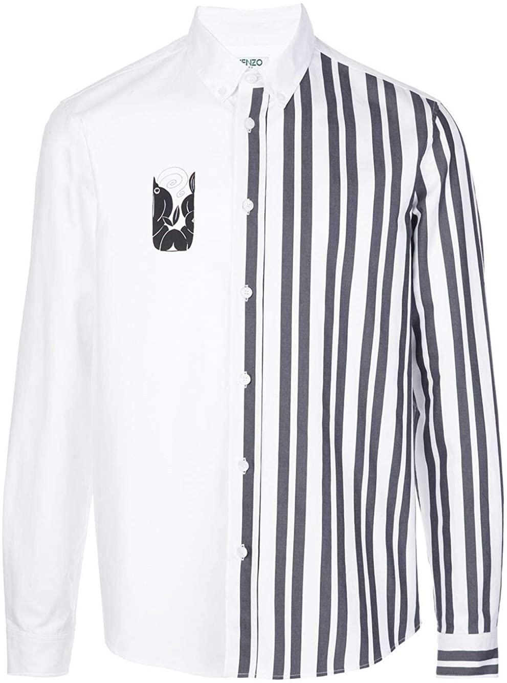 Kenzo Luxury Fashion Man FA55CH4141LB01 White Cotton Shirt | Spring Summer 20