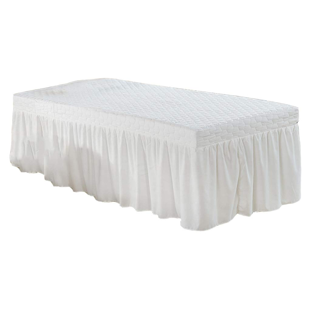 Standard Massage Table Skirt Beauty Face Facial Bed Cover Linen Valance Sheet 73x28inch With 54 Drop Skirt - White