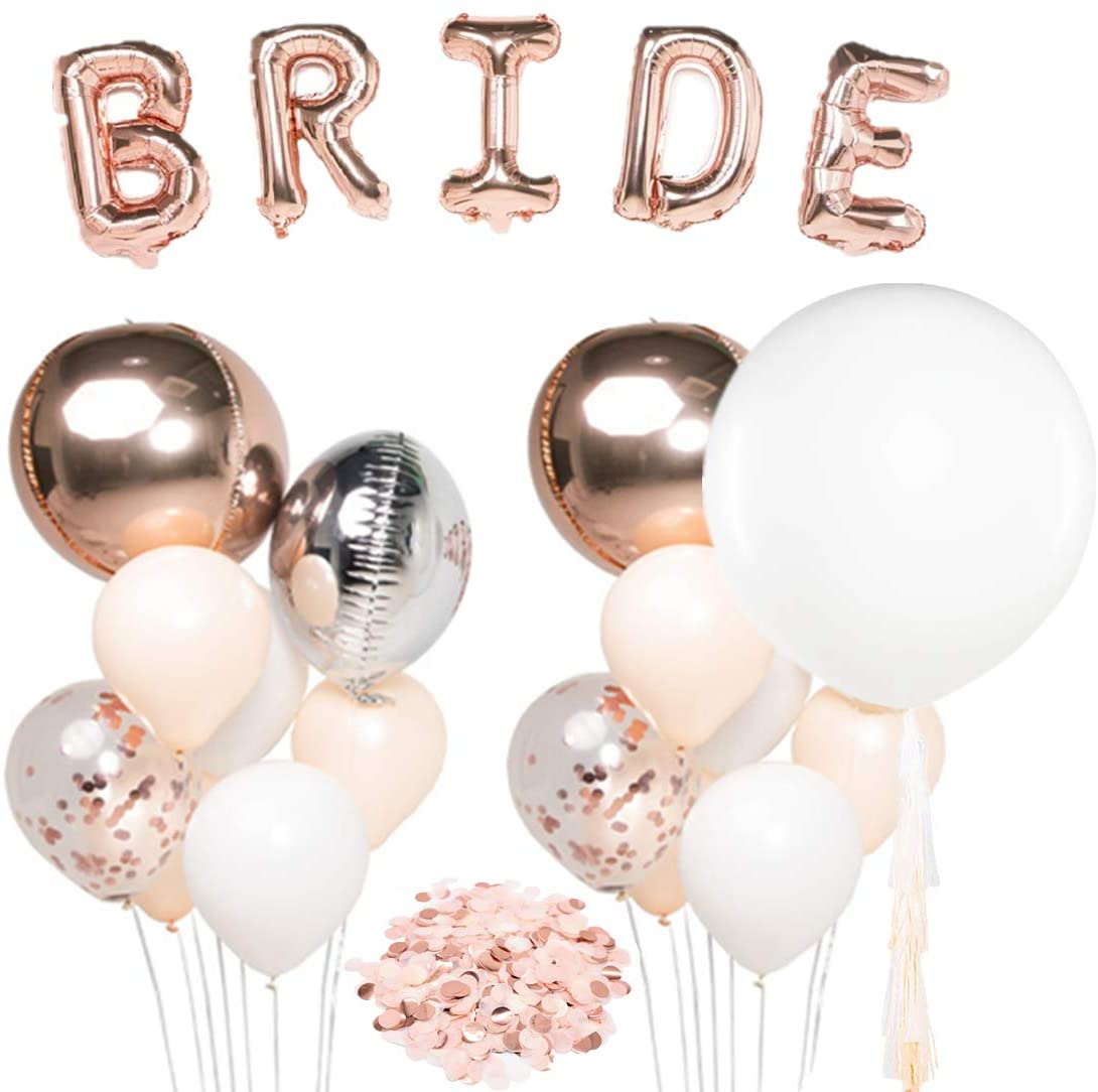 """UNIQOOO Rose Gold Balloons Bridal Shower Decorations Bachelorette Party Supplies -36"""" Giant Balloon w/Tassel Garland  Macaroon Peach, Metallic Rounded Foil & Confetti Balloons Set"""