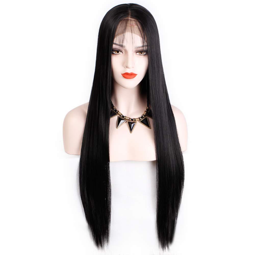 Morticia Addams Costume Wig | Long Straight Middle Part Black Lace Morticia Costume Women Wig