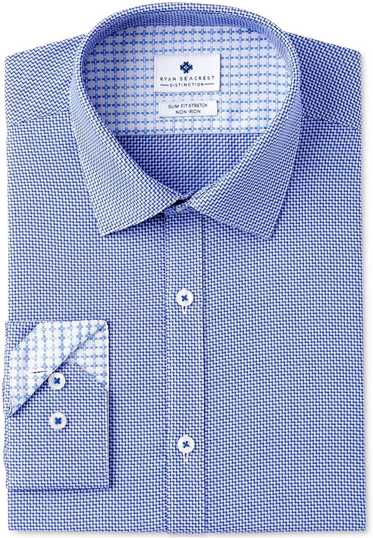 Ryan Seacrest Mens Diagonal Button Up Dress Shirt