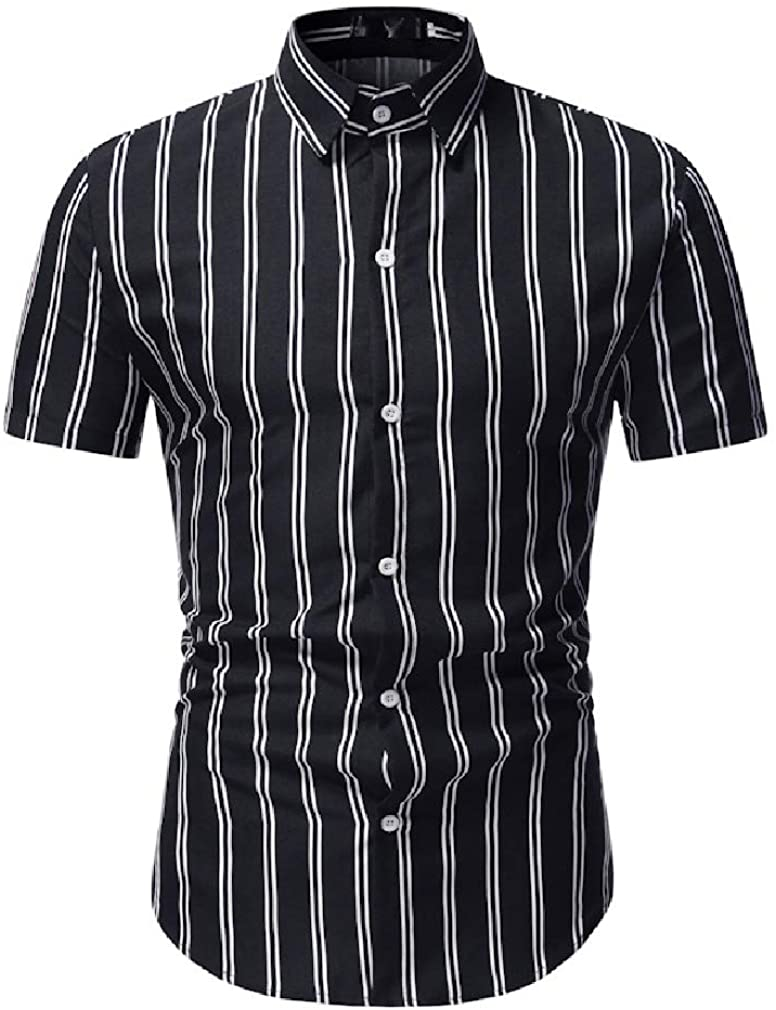 Suncolor8 Men Summer Regular Fit Short Sleeve Casual Formal Stripe Print Dress Shirts
