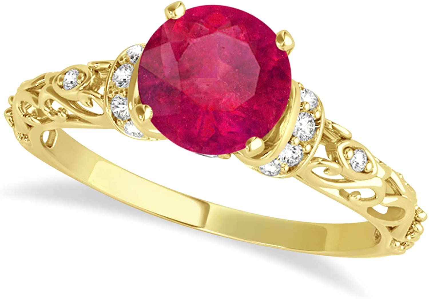 (1.62ct) 14k Yellow Gold Ruby and Diamond Antique-Style Engagement Ring