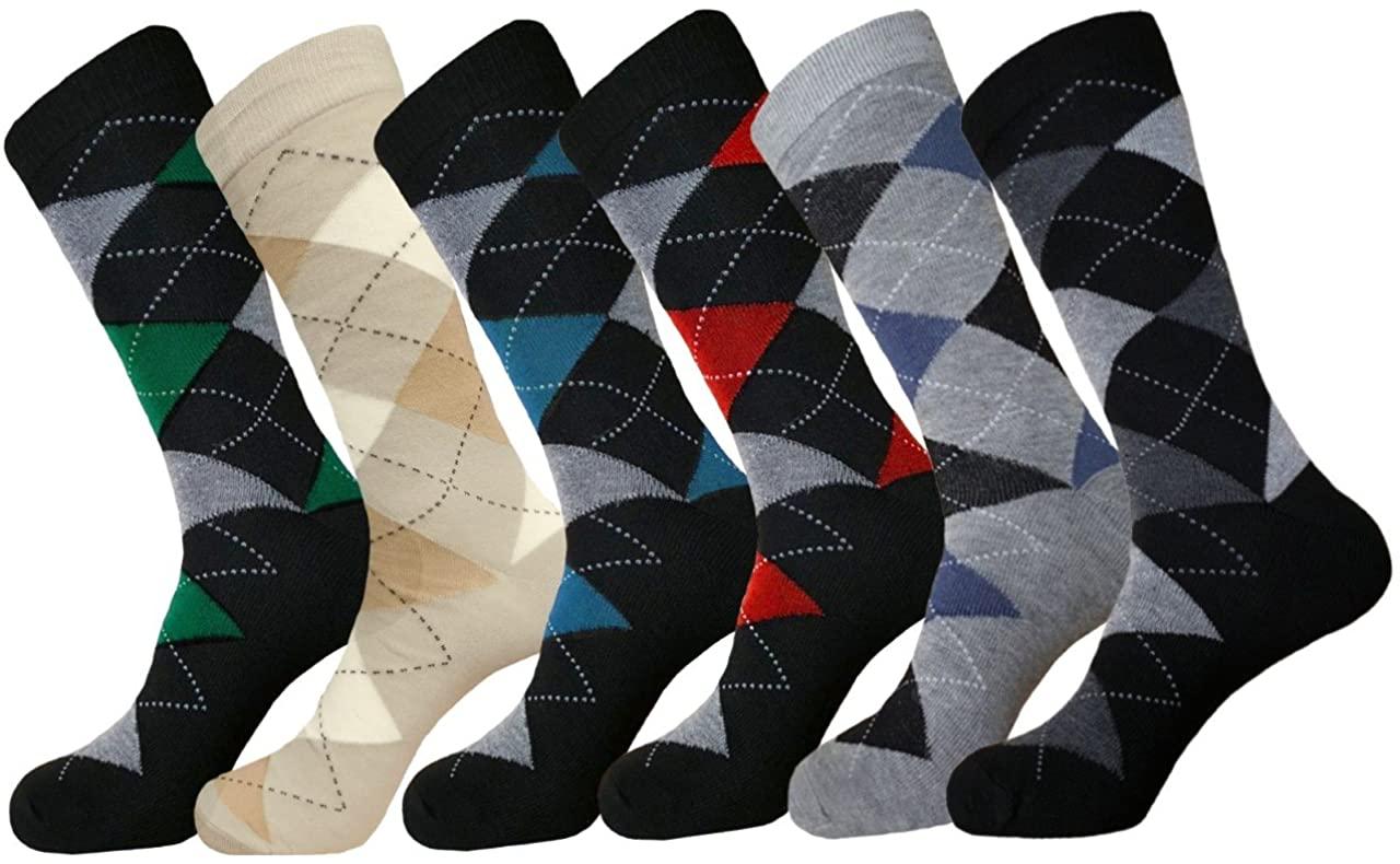 MENS ARGYLE DRESS SOCKS COTTON BLEND 6 PAIRS SIZE 10-13 COTTON BLEND WITH SPANDEX