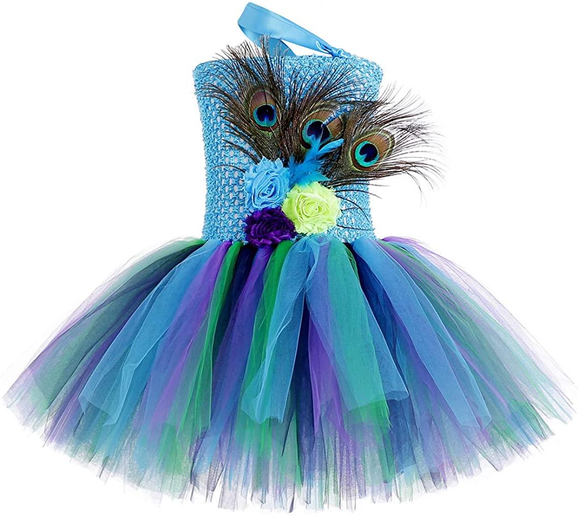 AmzBarley Peacock Costume for Girls Halloween Cosplay Dress Up 1-9 Years