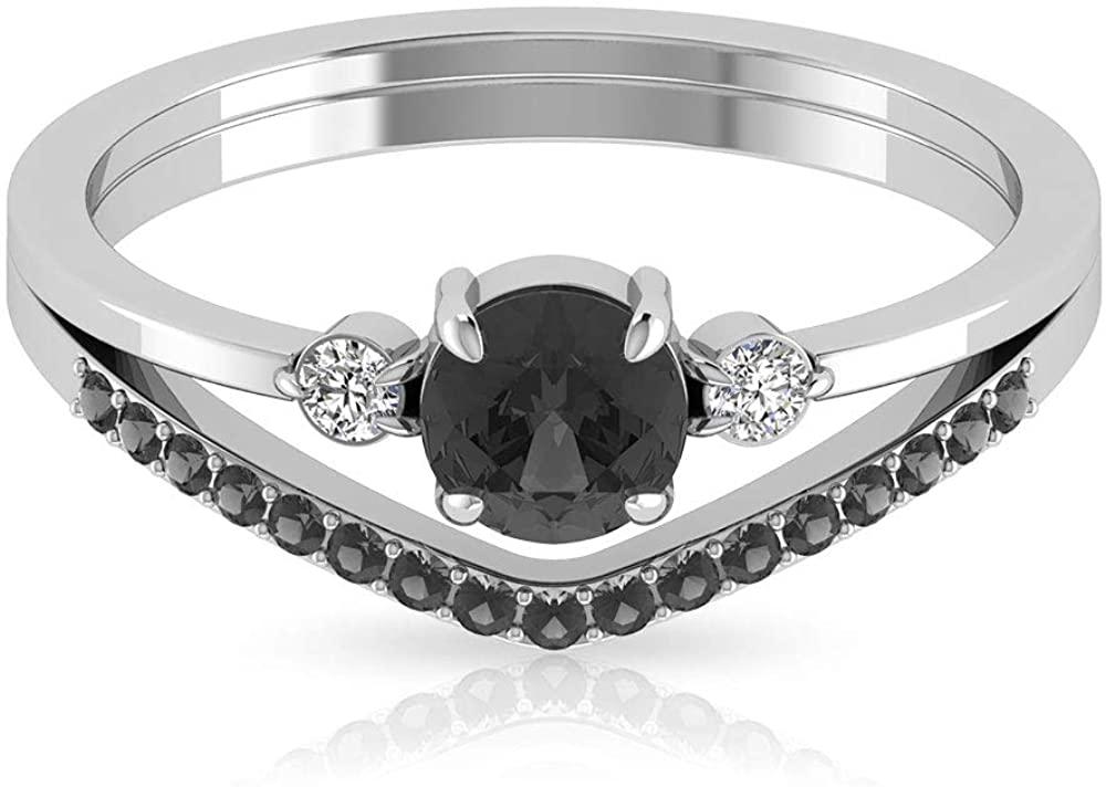 0.44 Carat Black White IGI Certified Diamond Engagement Ring, Solid 14k Gold Three Stone Promise Bridal Ring, Chevron Wedding Anniversary Promise Ring, 14K White Gold, Size:US 8.0
