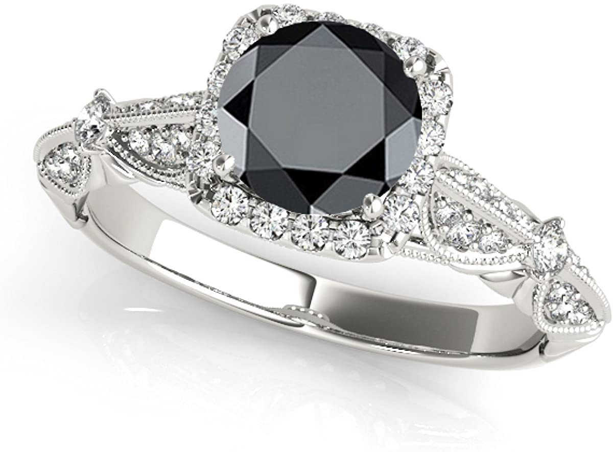 1.30 Ct. Ttw Halo Black Diamond Engagement Wedding Ring Crafted In 14k Solid White Gold