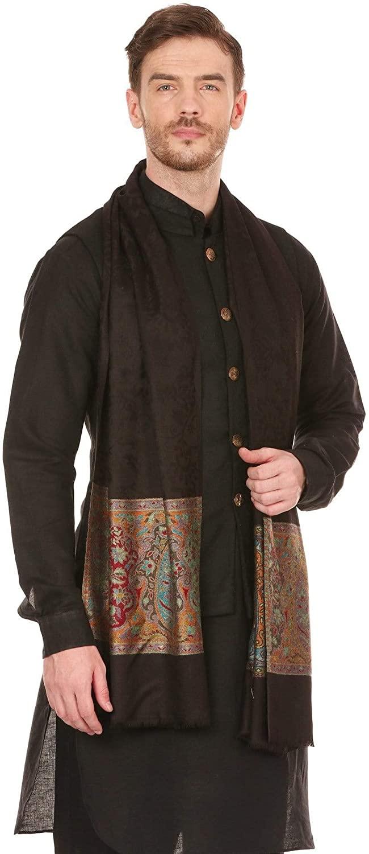 Pashtush Mens Bamboo self design Scarf Stole, Extra Soft- Black