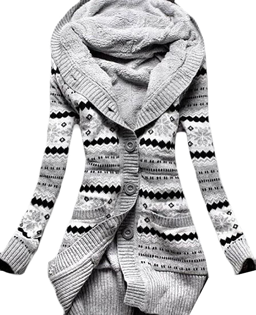 Jaycargogo Women Autumn Knitted Pattern Cardigan Sweater with Hoodies