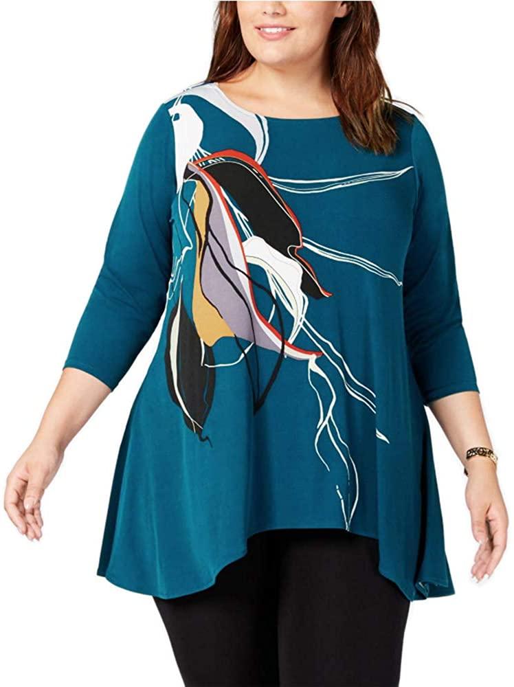 Alfani Womens Plus Swing Printed Tunic Top