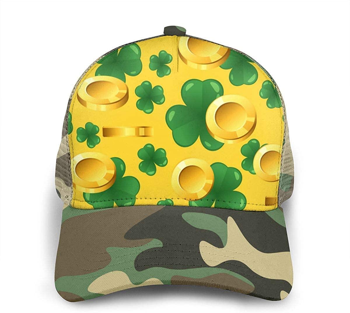 Snapback Hats for Men Women St. Patrick's Day Golden Coins Trucker Cap Hats Uv Sun Snapback Mesh Hat for Women Men Youth Teen