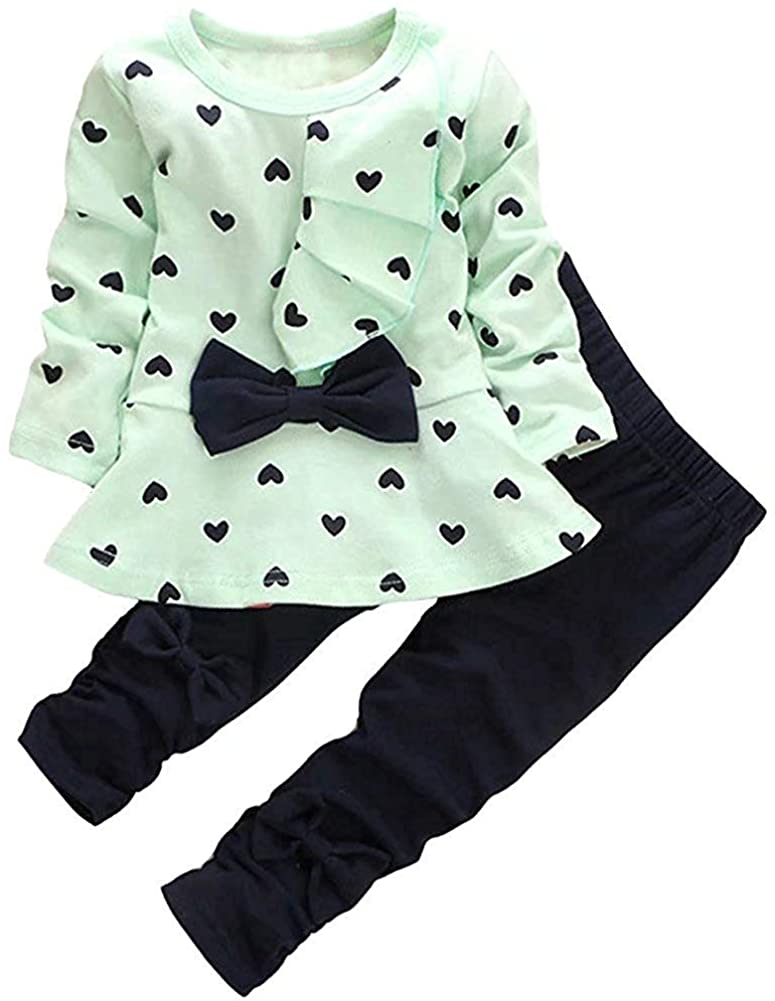 Baby Girl Clothes Infant Outfits Set 2 Pieces with Long Sleeves Heart Pattern Tops + Pants Sets