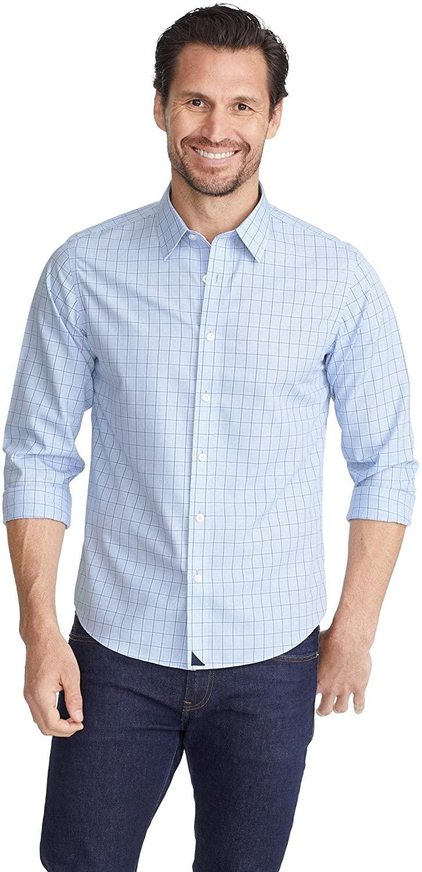 UNTUCKit Venturo Untucked Shirt for Men – Long Sleeve Button-Up, Blue