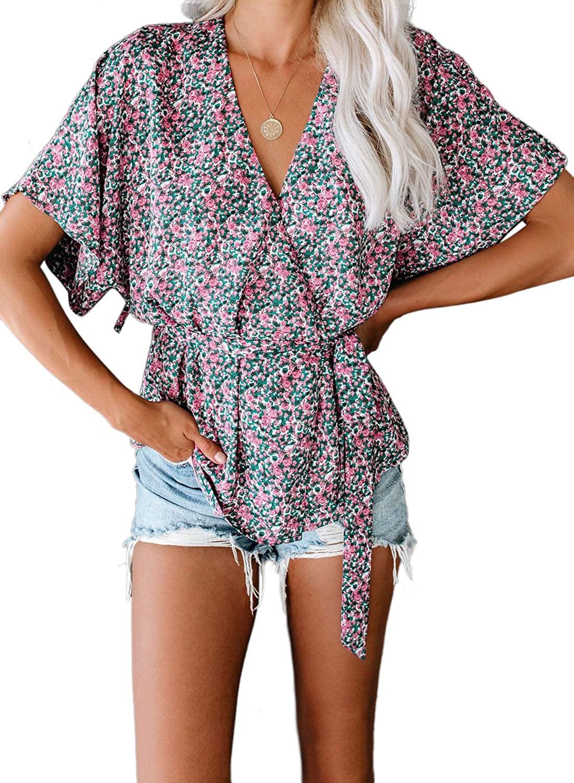 Acelitt Women V Neck Short Sleeve Tie Front Floral Print Blouse (3 Color, S-XXL)