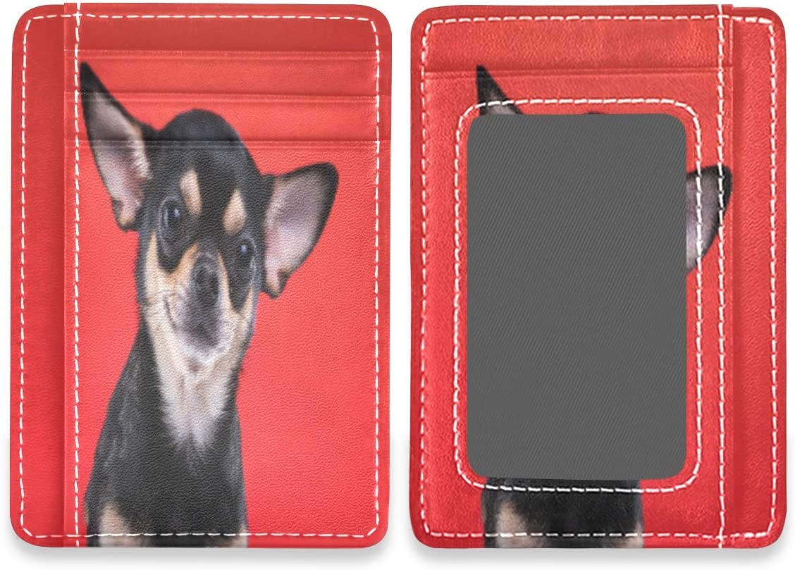 Cute Chihuahua Dog Funny Puppy Red RFID Credit Card Holders Case Organizer Front Pocket Wallet Women Men