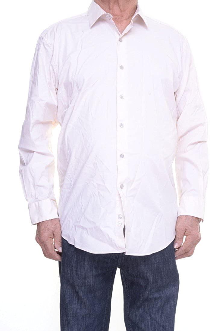 Alfani Mens Slim Fit Stretch Button-Down Shirt Beige M