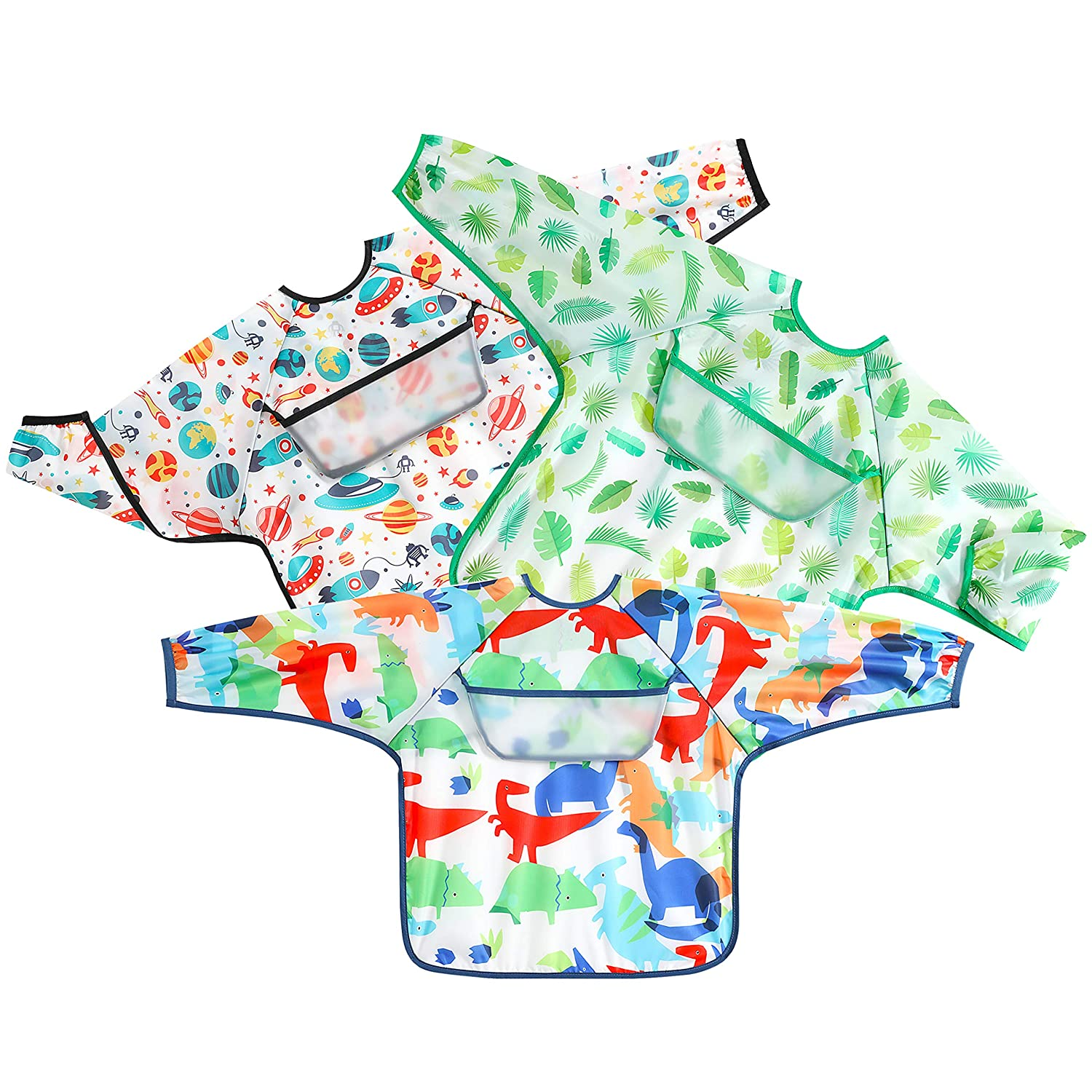 PandaEar Open Pocket Long Sleeve Bib 3-Pack Set| Baby & Toddler Waterproof Bibs Smock with Pocket and Crumb Catcher |Washable Stain and Odor Resistant Apron | 6-30 Months (Varied)