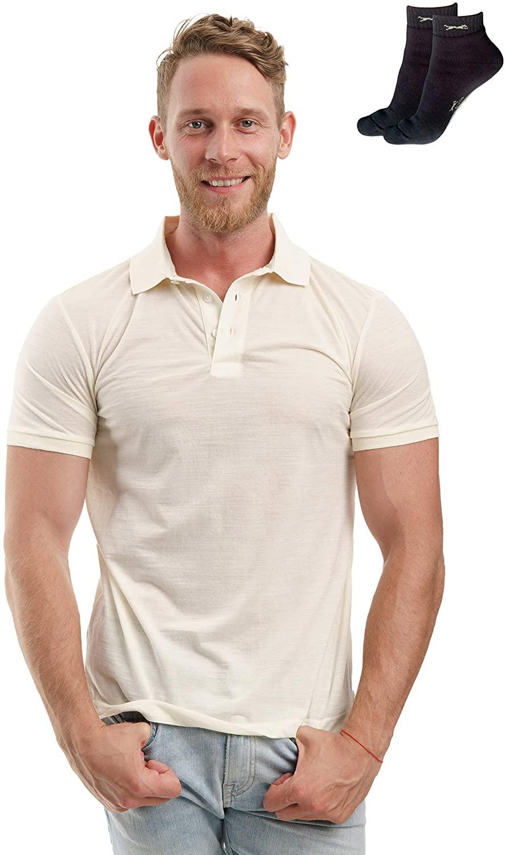 Slim Fit Merino Wool Polo Shirt for Men - Organic Casual 100% Athletic Merino Button Shirt Mens with Socks