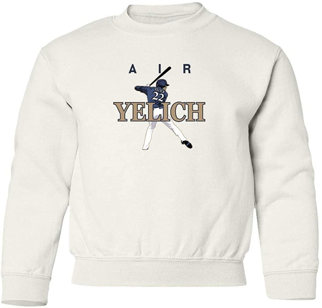 SMARTZONE Christian Milwaukee Baseball Fans MVP AIR PIC Unisex Youth Sweatshirt Crewneck Sweater (White, Youth Large)