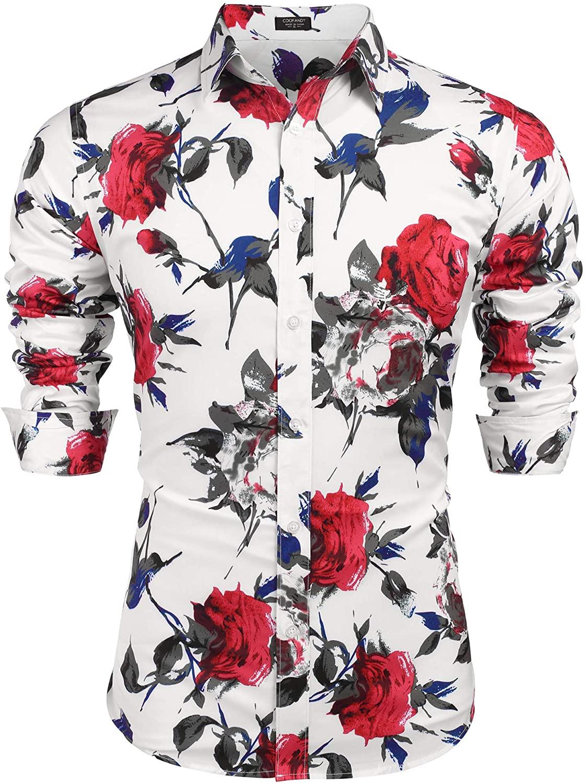 COOFANDY Men's Slim Fit Floral Dress Shirt Long Sleeve Casual Button Down Shirts Hawaiian Shirts