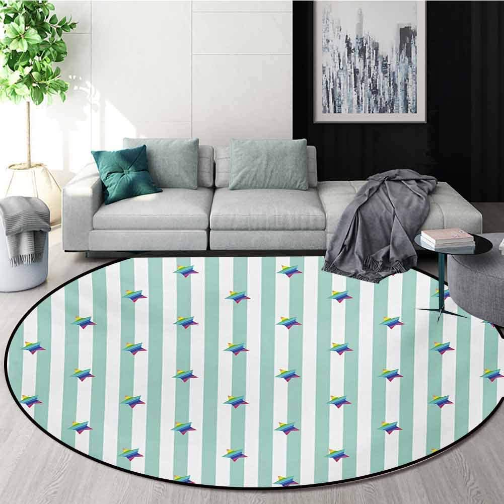 RUGSMAT Star Modern Machine Washable Round Bath Mat,Retro Style Pattern with Vertical Stripes and Rainbow Colored Stars Joyful Hipster Non-Slip Soft Floor Mat Home Decor,Diameter-35 Inch
