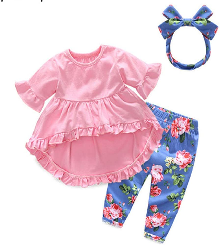 Top and Top Fashion Cute Toddler Girls Clothing Set Short Sleeve T-Shirt+Trousers+Headband Baby Girl Summer Clothes Purple