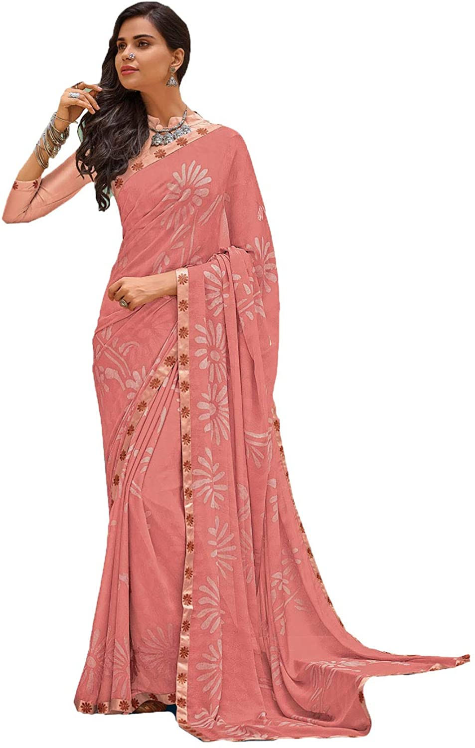 Saree for Women Bollywood Wedding Designer Peach Sari with Unstitched Blouse. ICW2524-5