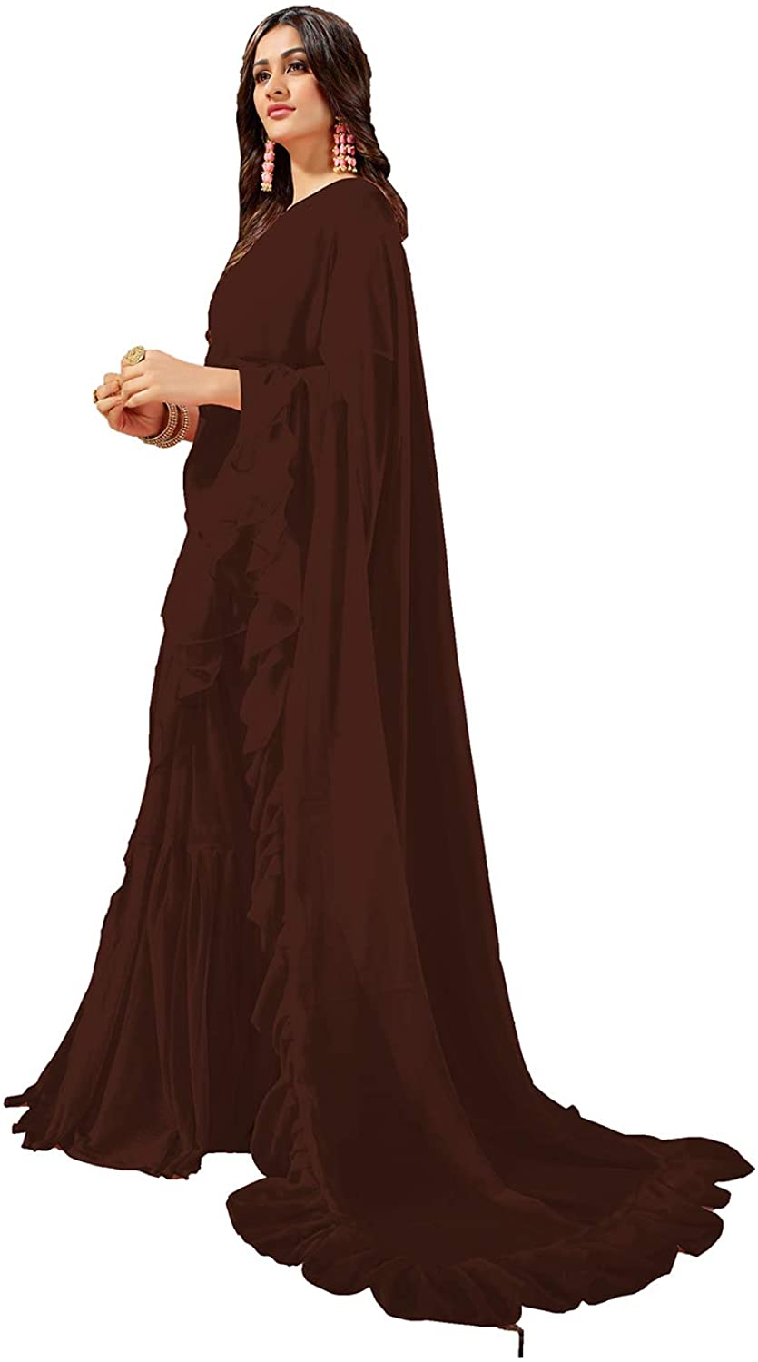 Saree for Women Bollywood Wedding Designer Brown Sari with Unstitched Blouse.