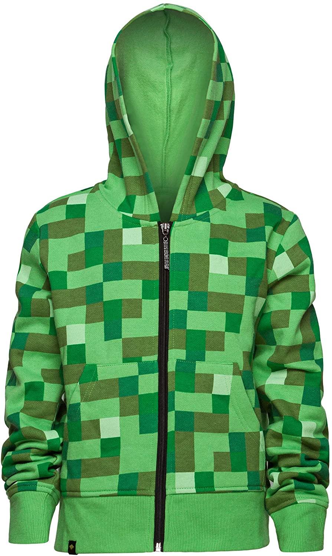 JINX Minecraft Big Boys Creeper Zip-Up Costume Hoodie, no Mask