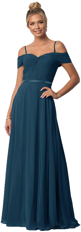 Ubride Womens Long Chiffon Bridesmaid Dresses Spaghetti Strap Ribbon Sash Formal Evening Party Dress