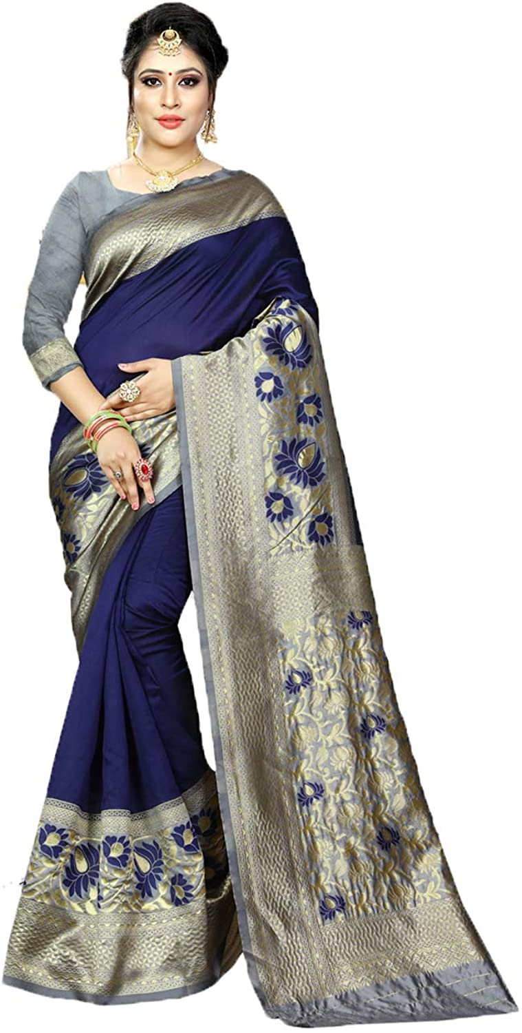 Saree for Women Bollywood Wedding Designer Multicolor Sari with Unstitched Blouse.