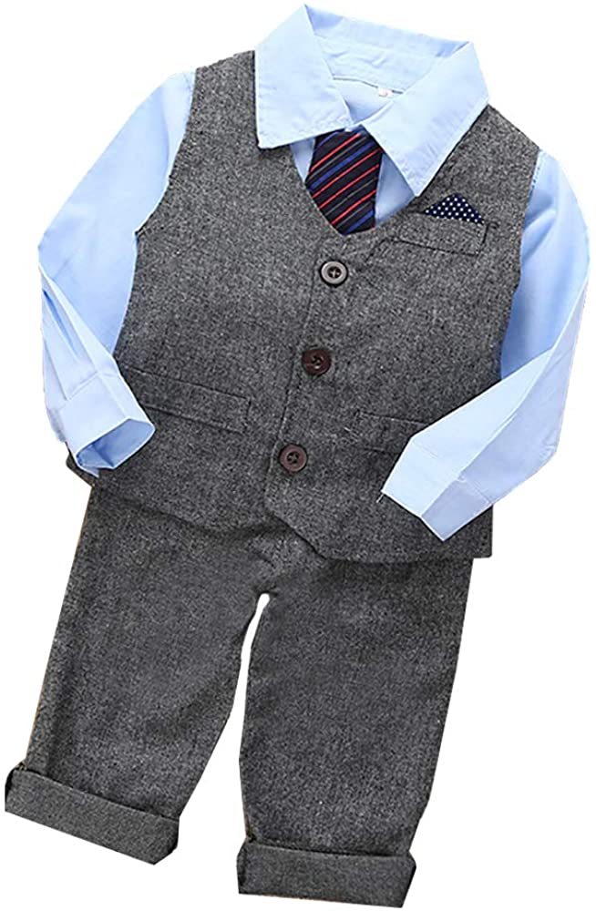 Alyssan Baby Boys Long Sleeve Gentlemen Outfit Suits,Blue Shirt+Gray Pants+Vest+Bow Tie Baby Boy Romper Suits