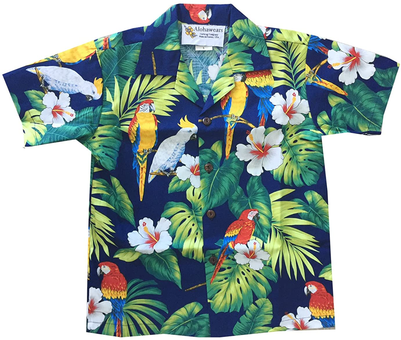 Made in Hawaii ! Boy's Tropical Parrot Hawaiian Luau Cruise Aloha Shirt