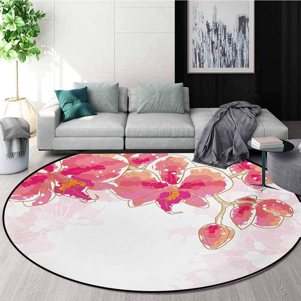 RUGSMAT Floral Non-Slip Area Rug Pad Round,Contour Drawing Orchids Flower Tropic Bridal Bouquet Blossoms Watercolor Art Design Protect Floors While Securing Rug Making Vacuuming,Diameter-35 Inch