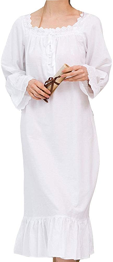 EVEDESIGN Women's Solid Long Sleeve Long Nightgown Princess Plain Palace Home Nightdress
