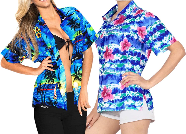 LA LEELA Women's Hawaiian Blouse Shirt for Girls Button Down Up Shirt M Work from Home Clothes Women Blouse Pack of 2