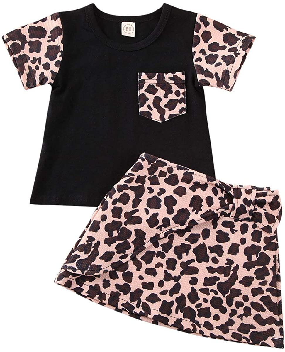 Kids Baby Girls Leopard Cotton Short Sleeve T Shirts Tops and Skirts Set Baby Girl Summer Clothes Set