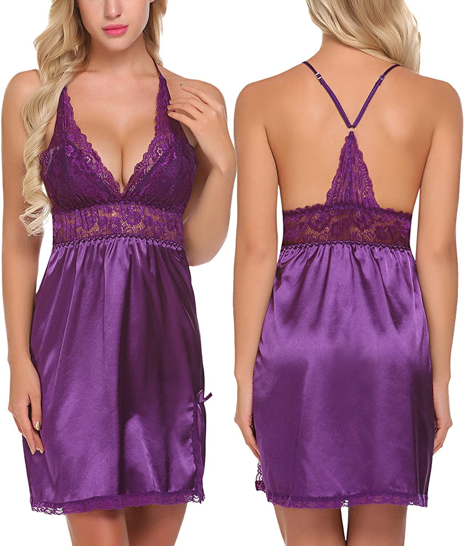 ADOME Women Lingerie Lace Babydoll Chemises V Neck Nightwear Satin Sleepwear Slips