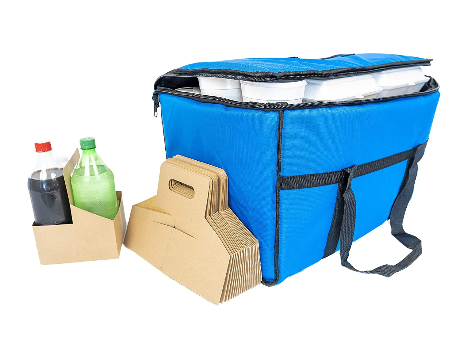 Big Bad Bag Insulated food delivery bag - Blue Delivery Bags for Hot Food - Great Design Holds More Food and Keeps Food Hotter -Comes with Bonus 20 Pack of A Disposable Drink Carrier for Delivery - Food Delivery Bag is 23