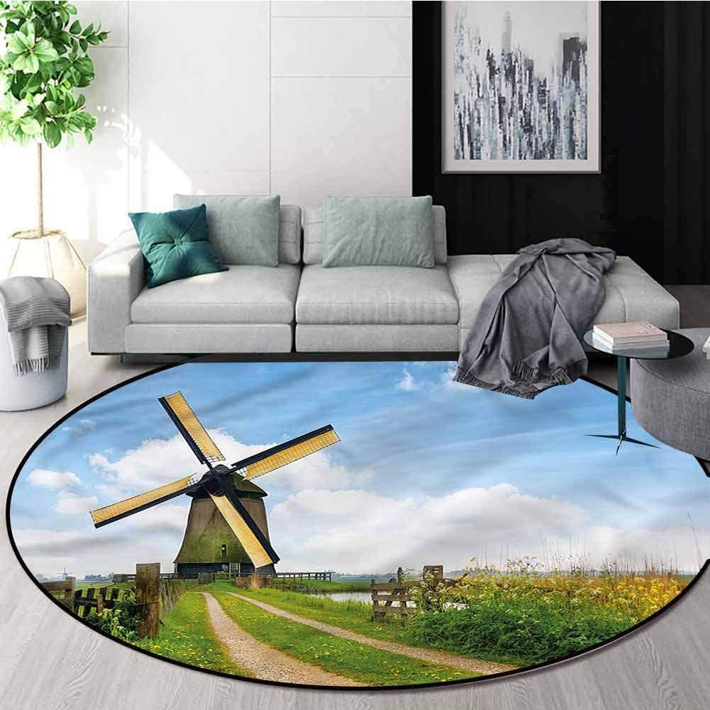 RUGSMAT Windmill Round Kids Rugs,Holland in The Spring Non-Slip No-Shedding Kitchen Soft Floor Mat Round-59
