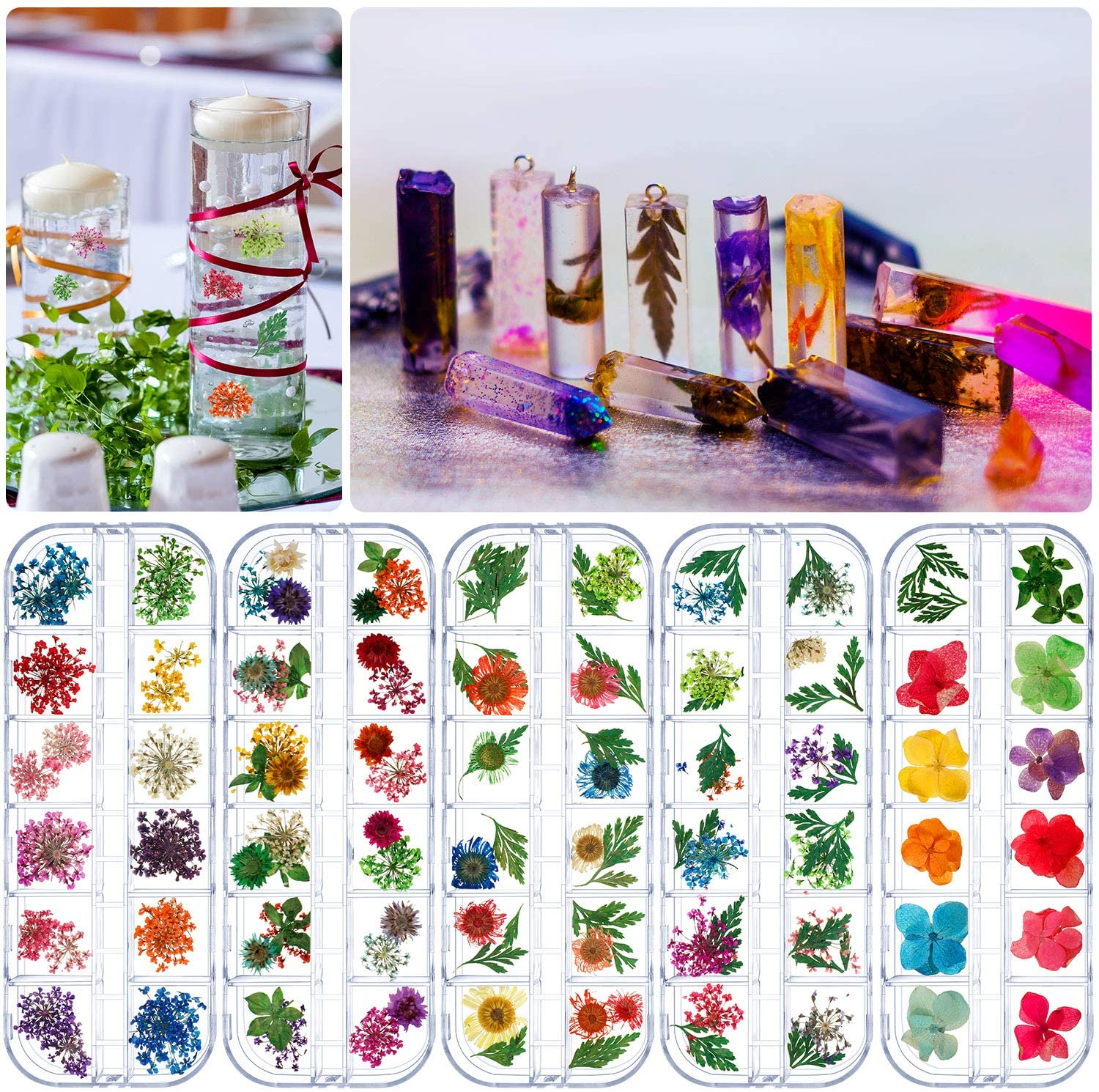 5 Boxes Natural Dried Flowers Real Dry Flowers Nail Dried Flowers for Resin Jewelry, Candle Making, Nail Art, DIY Making Craft