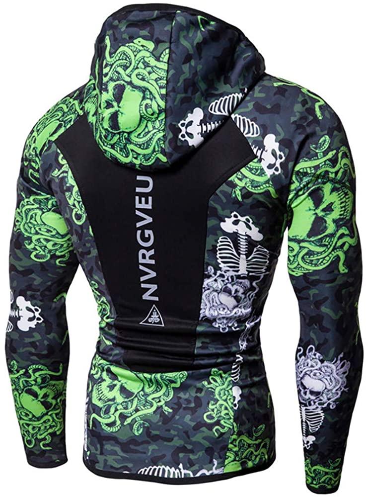 Nvrgveup Men's Hooded Sweatshirt Running Fitness Casual Slim Edition Long Sleeve Lightweight Men's Pullover Hooded Tee