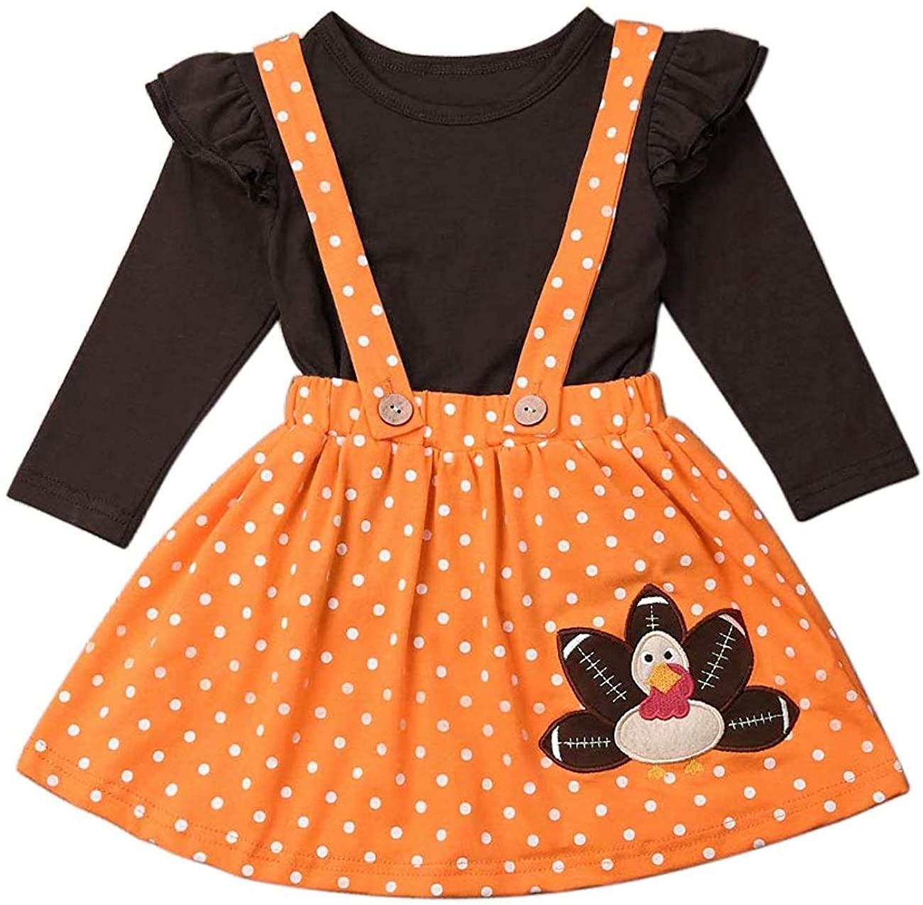 Toddler Girls Clothes Set Ruffle Top Shirts+Turkey Print Dot Suspender Skirt Thanskgiving Outfits Set