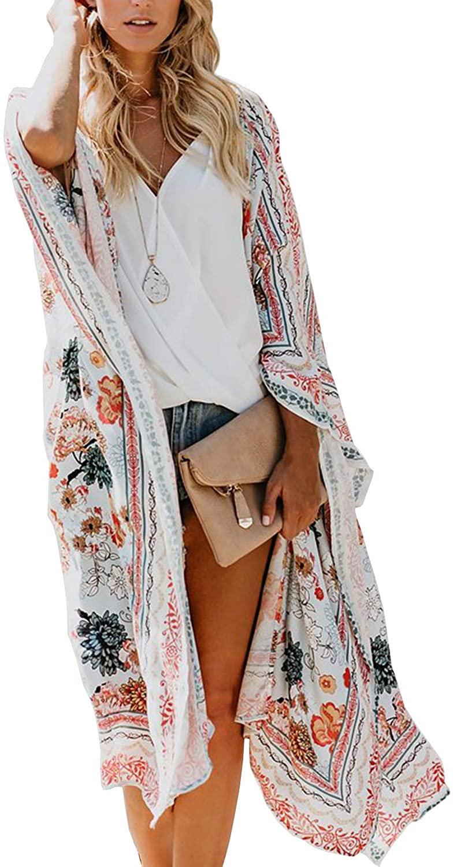 TRALOOK Womens Swimsuit Beach Cover ups Chiffon Kimono Loose Sheer Cardigan Lightweight Flowy Cover Ups X-Large