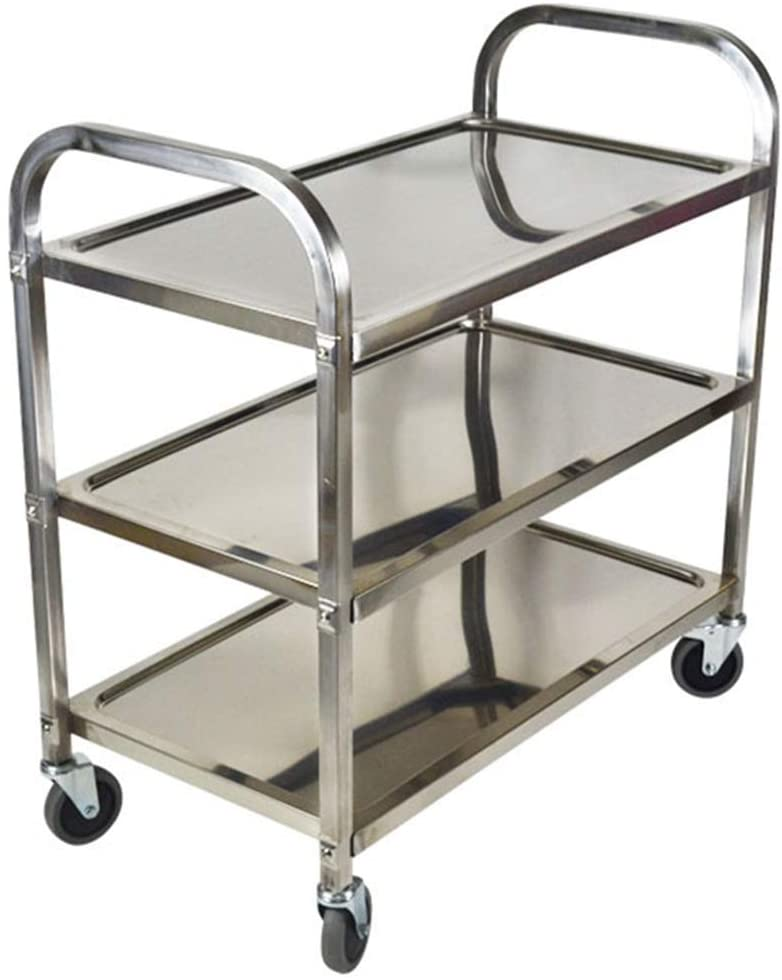 LXX Portable Hand Trucks Recycling Vehicles,Collecting Vehicles Cart Service Restaurant Warehouse 3 Tier Swivel Castors Steel Nail Reinforcement Easy to Move Easy to Assemble, 3 Sizes Kitchen,Silver