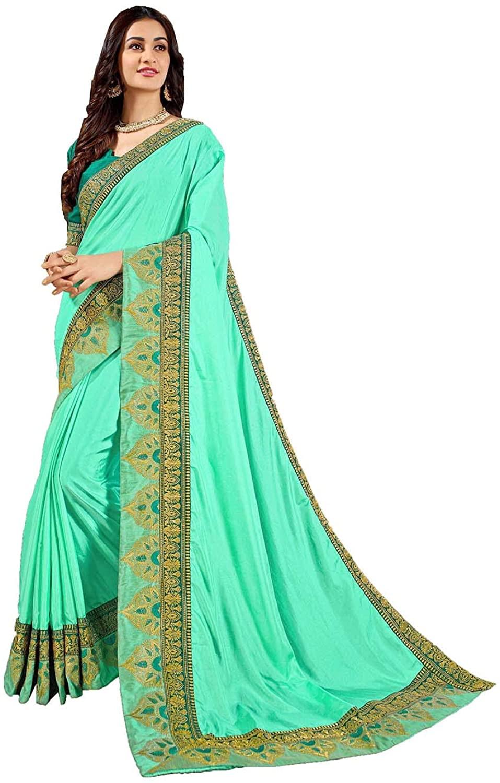 Saree for Women Bollywood Wedding Designer Art Silk Sari with Unstitched Blouse.