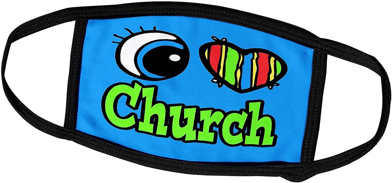 3dRose Dooni Designs Eye Heart I Love Designs - Bright Eye Heart I Love Church - Face Masks (fm_105967_3)