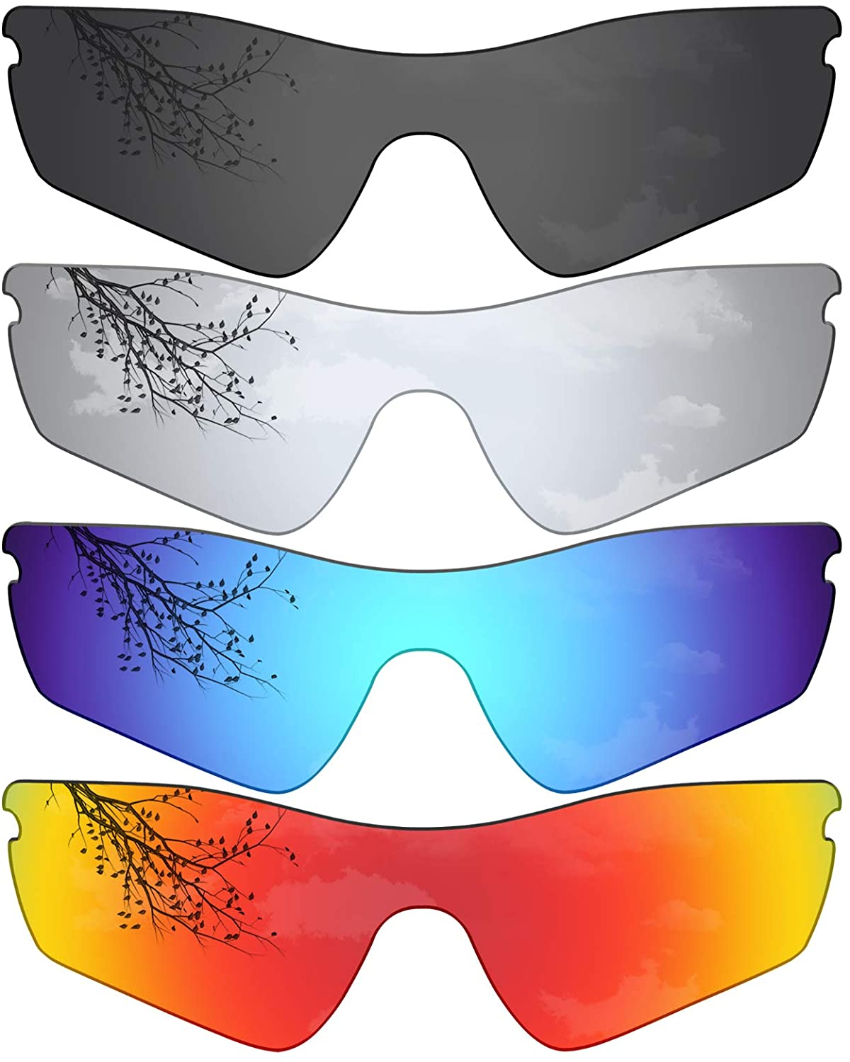 StaySoft Polarized Replacement Lenses for Oakley Radar Path Sunglasses - Solid Black + Titanium + Sky Blue + Ocean Red